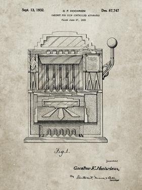 PP1125-Sandstone Vintage Slot Machine 1932 Patent Poster by Cole Borders