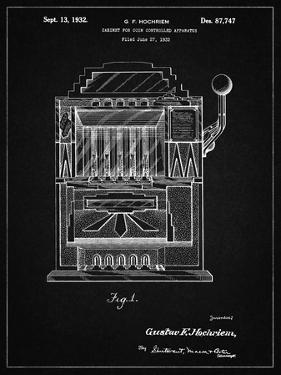 PP1125-Vintage Black Vintage Slot Machine 1932 Patent Poster by Cole Borders
