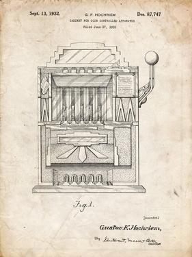 PP1125-Vintage Parchment Vintage Slot Machine 1932 Patent Poster by Cole Borders