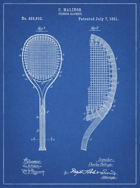 PP1127-Blueprint Vintage Tennis Racket 1891 Patent Poster by Cole Borders