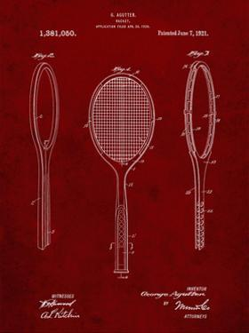 PP1128-Burgundy Vintage Tennis Racket Patent Poster by Cole Borders