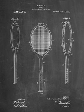PP1128-Chalkboard Vintage Tennis Racket Patent Poster by Cole Borders