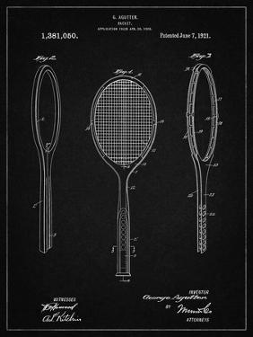 PP1128-Vintage Black Vintage Tennis Racket Patent Poster by Cole Borders