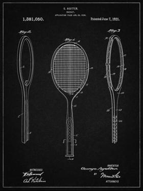 PP1128-Vintage Black Vintage Tennis Racket Patent Poster by Cole Borders