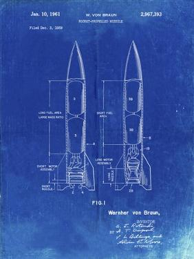 PP1129-Faded Blueprint Von Braun Rocket Missile Patent Poster by Cole Borders
