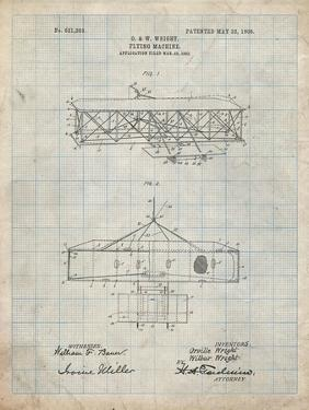 PP1139-Antique Grid Parchment Wright Brother's Aeroplane Patent by Cole Borders