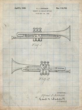 PP1140-Antique Grid Parchment York Trumpet 1939 Patent Poster by Cole Borders