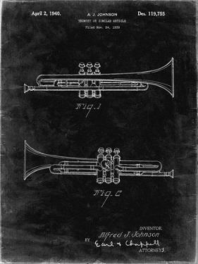 PP1140-Black Grunge York Trumpet 1939 Patent Poster by Cole Borders
