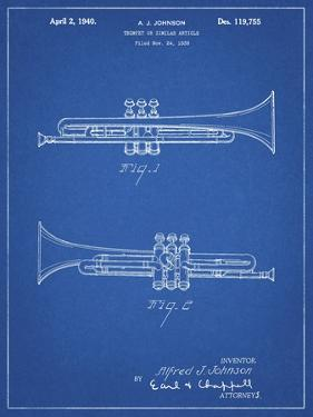 PP1140-Blueprint York Trumpet 1939 Patent Poster by Cole Borders