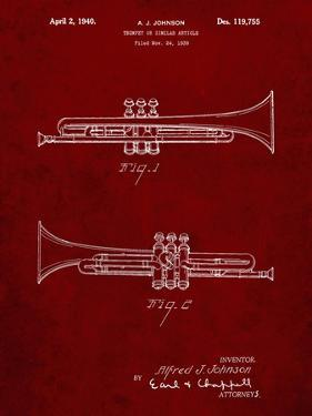 PP1140-Burgundy York Trumpet 1939 Patent Poster by Cole Borders