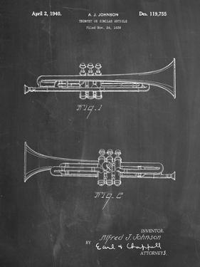 PP1140-Chalkboard York Trumpet 1939 Patent Poster by Cole Borders
