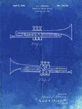PP1140-Faded Blueprint York Trumpet 1939 Patent Poster by Cole Borders