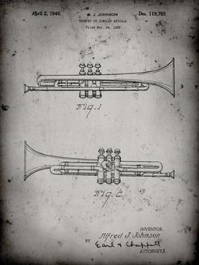 PP1140-Faded Grey York Trumpet 1939 Patent Poster by Cole Borders
