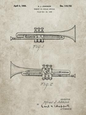 PP1140-Sandstone York Trumpet 1939 Patent Poster by Cole Borders