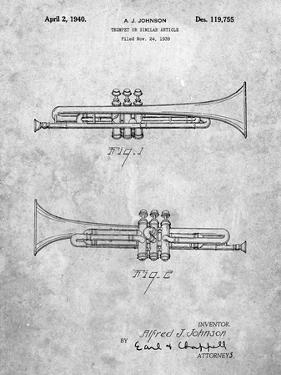 PP1140-Slate York Trumpet 1939 Patent Poster by Cole Borders