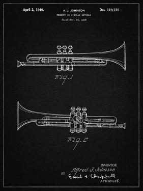PP1140-Vintage Black York Trumpet 1939 Patent Poster by Cole Borders
