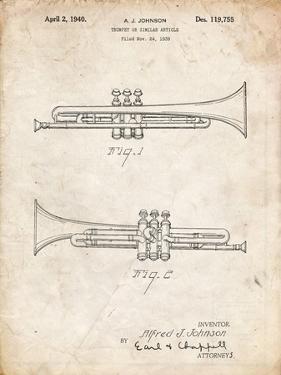 PP1140-Vintage Parchment York Trumpet 1939 Patent Poster by Cole Borders