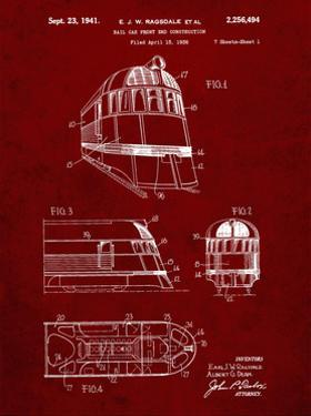 PP1141-Burgundy Zephyr Train Patent Poster by Cole Borders