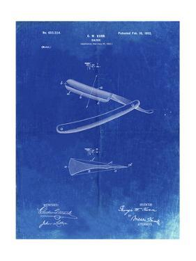 PP1178-Faded Blueprint Straight Razor Patent Poster by Cole Borders