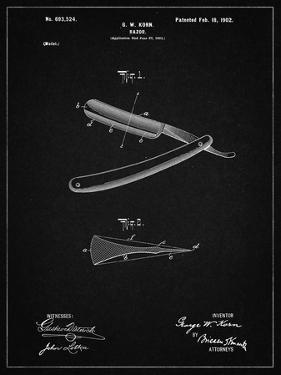 PP1178-Vintage Black Straight Razor Patent Poster by Cole Borders