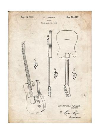 PP121- Vintage Parchment Fender Broadcaster Electric Guitar Patent Poster