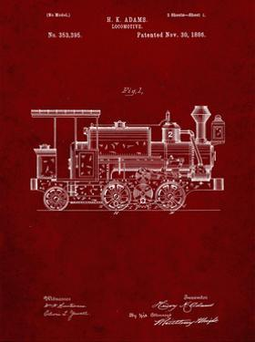 PP122- Burgundy Steam Locomotive 1886 Patent Poster by Cole Borders