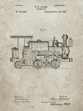 PP122- Sandstone Steam Locomotive 1886 Patent Poster by Cole Borders