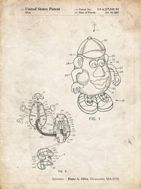 PP123- Vintage Parchment Mr. Potato Head Patent Poster by Cole Borders