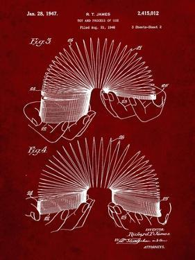 PP125- Burgundy Slinky Toy Patent Poster by Cole Borders