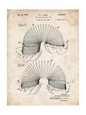 PP125- Vintage Parchment Slinky Toy Patent Poster by Cole Borders