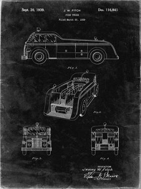 PP128- Black Grunge Firetruck 1939 Patent Poster by Cole Borders