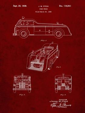 PP128- Burgundy Firetruck 1939 Patent Poster by Cole Borders