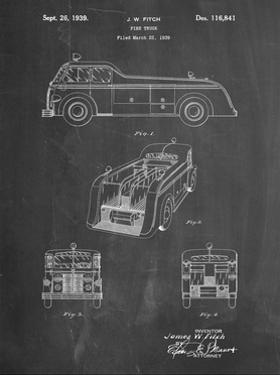 PP128- Chalkboard Firetruck 1939 Patent Poster by Cole Borders