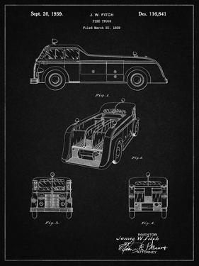 PP128- Vintage Black Firetruck 1939 Patent Poster by Cole Borders