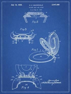 PP130- Blueprint Toilet Seat Poster by Cole Borders