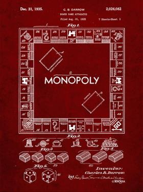 PP131- Burgundy Monopoly Patent Poster by Cole Borders