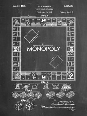 PP131- Chalkboard Monopoly Patent Poster by Cole Borders