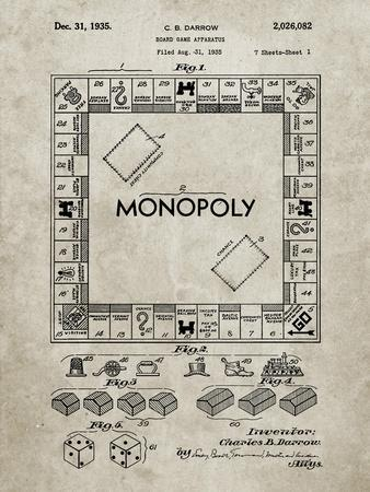 PP131- Sandstone Monopoly Patent Poster