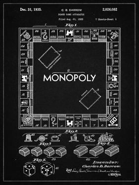 PP131- Vintage Black Monopoly Patent Poster by Cole Borders