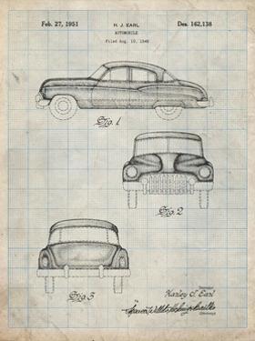 PP134- Antique Grid Parchment Buick Super 1949 Car Patent Poster by Cole Borders