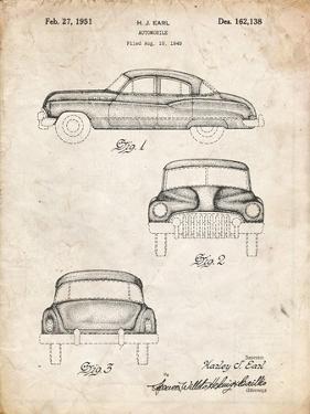 PP134- Vintage Parchment Buick Super 1949 Car Patent Poster by Cole Borders
