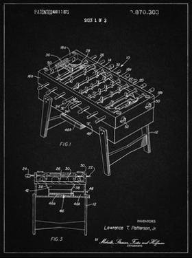 PP136- Vintage Black Foosball Game Patent Poster by Cole Borders