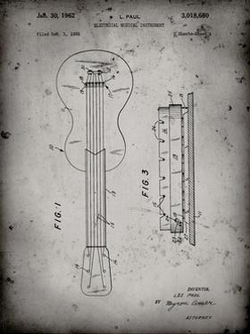 PP140- Faded Grey Gibson Les Paul Guitar Patent Poster by Cole Borders