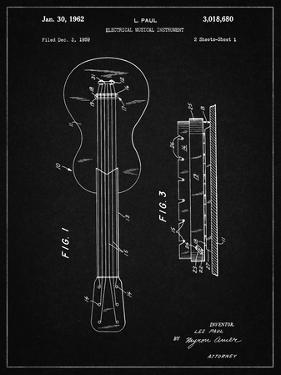 PP140- Vintage Black Gibson Les Paul Guitar Patent Poster by Cole Borders