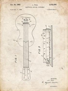 PP140- Vintage Parchment Gibson Les Paul Guitar Patent Poster by Cole Borders