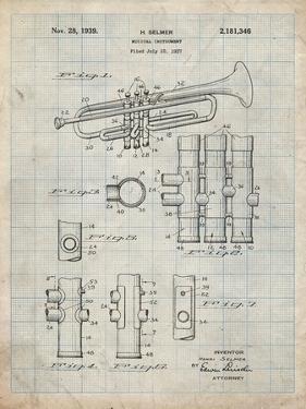 PP141- Antique Grid Parchment Selmer 1939 Trumpet Patent Poster by Cole Borders