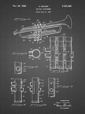 PP141- Black Grid Selmer 1939 Trumpet Patent Poster by Cole Borders