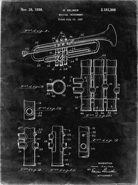 PP141- Black Grunge Selmer 1939 Trumpet Patent Poster by Cole Borders