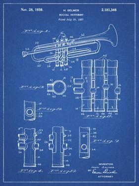 PP141- Blueprint Selmer 1939 Trumpet Patent Poster by Cole Borders