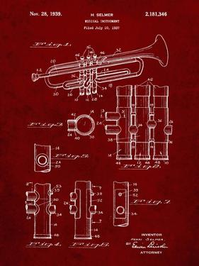 PP141- Burgundy Selmer 1939 Trumpet Patent Poster by Cole Borders